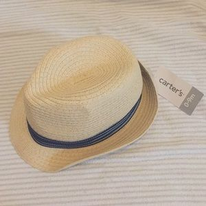 Carter's boys straw fedora hat with blue ribbon